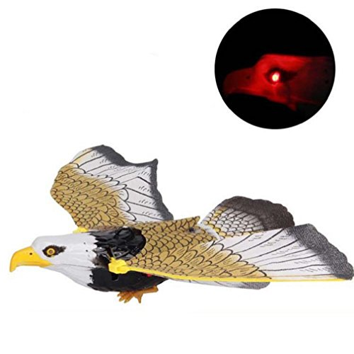 SUKEQ Flying Eagle Toy, Electronic Flying Eagle Sling Led Hovering Hawk Birds Fun Toy with Flashing Realistic Sounding, Independence Day Gift
