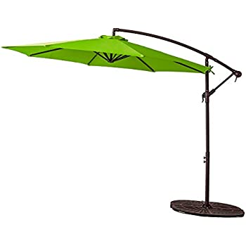 FLAMEu0026SHADE 10 Foot Offset Cantilever Umbrella, Hanging Outdoor Patio  Umbrella With Crank Lift, Large Round, Apple Green
