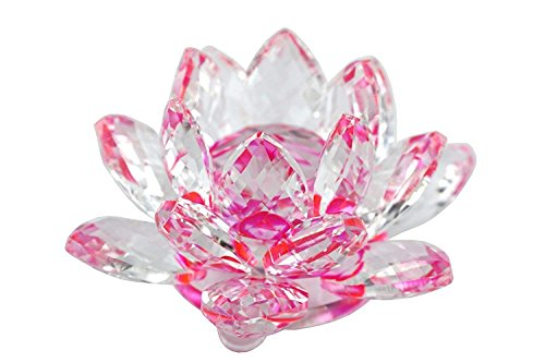 - Crystal Sparkle Crystal Lotus Flower Feng Shui Home Decor (PINK)