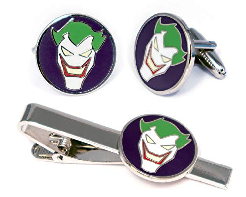 SharedImagination Joker Minimalist Tie Clip, Justice League Cufflinks, DC Comics Batman vs Superman Tie Tack Jewelry, Harley Quinn Cuff Links Link Wedding Party Gift, Avengers Groomsmen Gifts