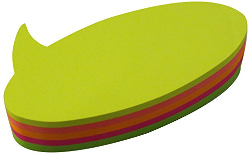 4A Die-cut Sticky Notes, Bubble Shape, 3 3/8 x 1 7/8-inch, Neon Assorted, 200 sheets/pad,1 pad/pack, 4A 5059