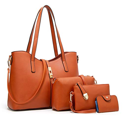 - YTL Women Fashion Synthetic Leather Handbags+Shoulder Bag+Purse+Card Holder 4pcs Set Tote