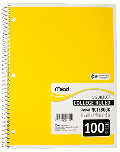 043100066224 - Mead Spiral Notebook, College Ruled, 1 Subject, 8.5 x 11, 100 Sheets, Assorted Colors (06622) carousel main 1