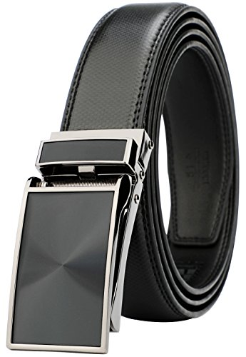 (Belt for Men, Genuine Leather Ratchet Dress Comfort Belt with Slide Click Buckle, Trim to Fit (28
