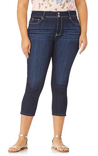 (WallFlower Women's Plus-Size InstaSoft Ultra Fit Skinny Crop Jeans in Castle, 18 Plus)