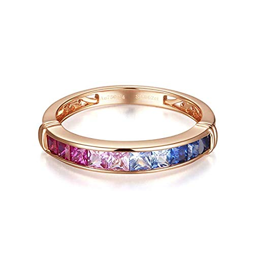 Carleen 18K Solid Rose Gold Princess Cut Multicolor Sapphire Ring For Women Girls