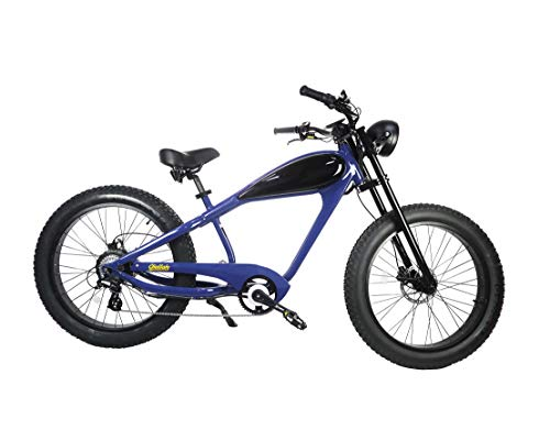 (CIVI BIKES Vintage Electric Bike Fat Tire Sport Bicycle 750W café Racer 7-Speed Gear 48V 13AH Battery with Max Speed to 28 MPH - Classic Blue)