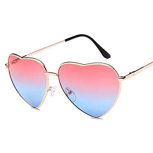 de color vacaciones de sol cotidiana sol la Pink premium degradado Aolvo gafas de para Gafas playa corazón metal ligeras compras 400 mujer marco Pink para diseño vida de blue blue fiestas UV 1gUWyTUx8