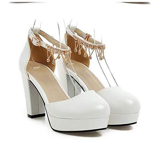 Pink Chunky Red Leather Women'S Heel QOIQNLSN Basic Black Pump Shoes Summer White Heels Nappa Zq7xwHx8aB