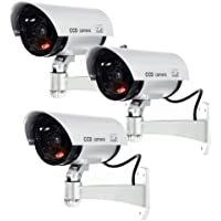 Masione 3 PACK OUTDOOR FAKE / DUMMY SECURITY CAMERA w/ Blinking Light (Silver) CCTV SURVEILLANCE