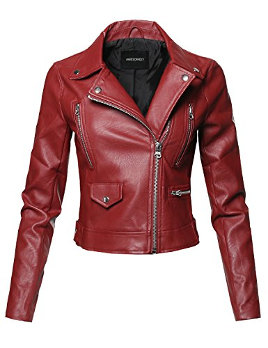 Casual Zipper Closure Notched Collar Moto Leather Jacket Red Size 2XL (Holiday Womens Jacket)