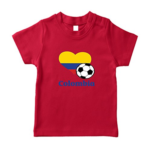 81058652353 Colombian Soccer Colombia Football Cotton Short Sleeve Crewneck Unisex Toddler  T-Shirt Jersey - Red