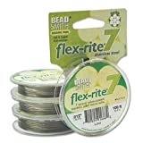Clear Coated Flex Rite Beading Stringing Wire .012 Inch 100 Feet Nylon Coated Stainless Steel 7 Strand Tigertail 8lb Break