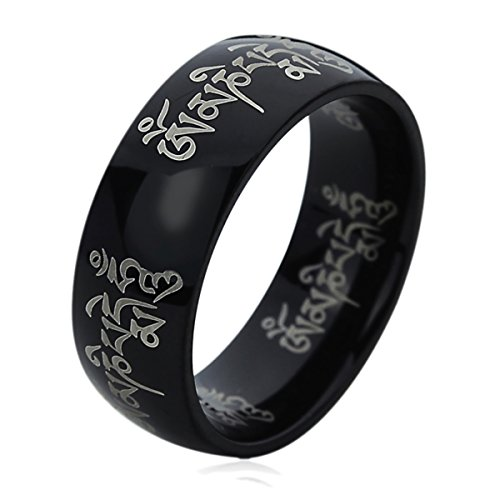 Prime Pristine 8MM Titanium Mens Womens Rings Tibetan Mantra Om Mani Padme Hum Black Comfort Fit Wedding Bands SZ: 8.5 ()