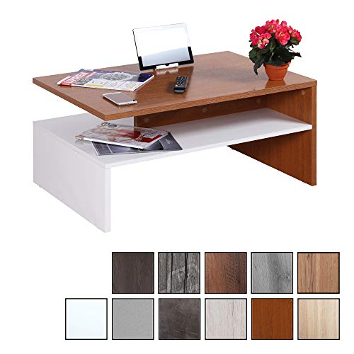 RICOO WM080 W-ER, Mesa Centro salon, 90x41,5x59,5cm, Mueble Auxiliar para Salon, Rectangular, Diseno Moderno, Decorativo, Madera Color Roble rustico