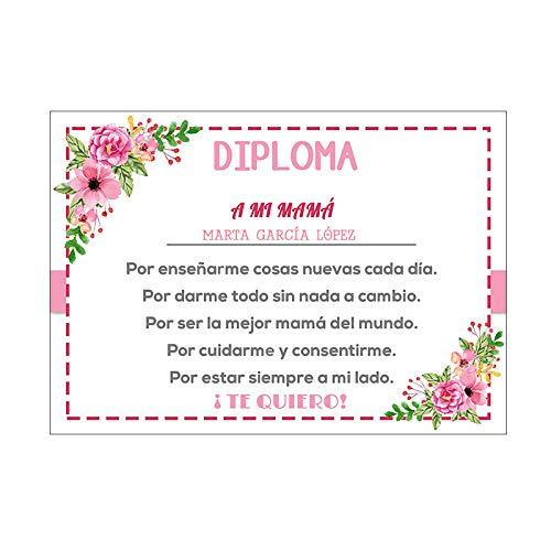 Diploma Mamá Personalizado/Regalo Original Madre/Incluye ...