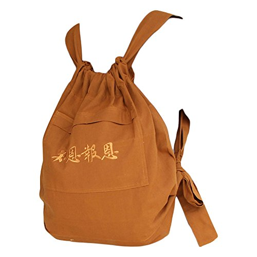- ZooBoo Unisex Buddhist Bag Monk Backpack - Tibetan Shaolin Temple Embroidery Kung Fu Bag - Cotton and Canvas