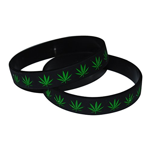 Black / Green Leaf Weed Marijuana Cannabis Weed Bracelet Wristband or Ankle Band (2 - Marijuana Wristbands