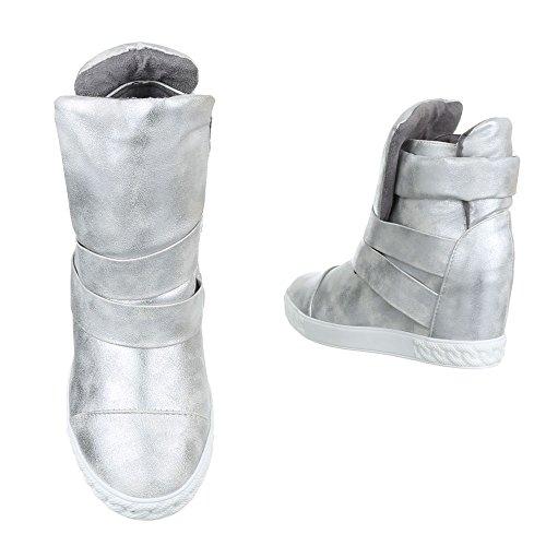 Ital-Design Keilstiefeletten Damenschuhe Keilabsatz/Wedge Keilabsatz Stiefeletten Silber