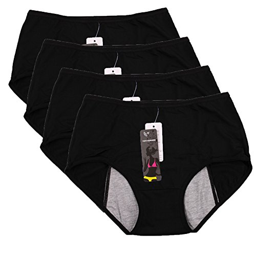 [Women Mesh Holes Breathable Leakproof Period Panties US size M/6 Black 4 Packs] (Washable Womens Panty)