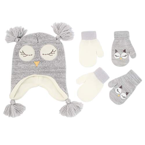 ABG Accessories Assorted Critter Designs Hat and 2 Pair Gloves or Mittens Cold Weather Set, Little Girls Ages 2-7 (Owl Design - Age 2-4 Mittens Set)