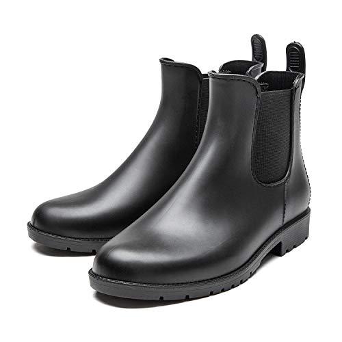 Rain Boots for Women Waterproof Elastic Slip On Ankle Chelsea Booties (9.5 B(M) US, Black)