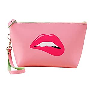 Happy Hours - Portable Waterproof PU Leather Organizer Makeup Bag Toiletry Pouch / Modern Printed Handle Top Zipped Cosmetic Case for Dating, Party, Anniversary and Travel(Lips in Pink)