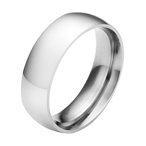 Jovivi Custom Band Rings - Personalized Name Message Engraved 6mm Stainless Steel Classic Silver Ring Engagement Wedding Band