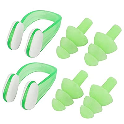 Plastic Nose Soft Clip Earplugs de natation en silicone Set 2 Pcs Vert