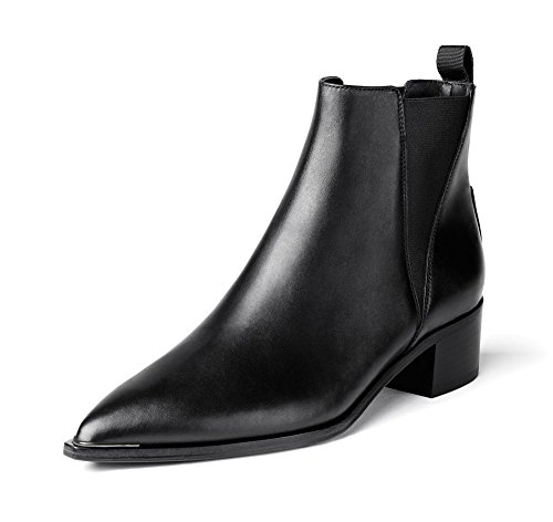 Allhqfashion Women's Blend Materials Kitten-Heels Boots with Non-Slipping Sole and Curves Style Blackcowleatherglossyfabric 3MaLk