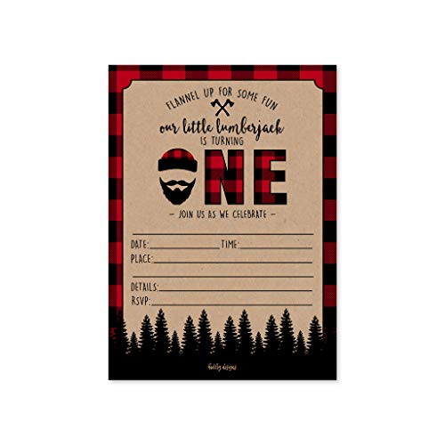 1st Birthday Invite - 25 Lumberjack Kids Birthday Invites, Baby's First Bday Party Invitations, Boys Plaid 1st Themed Celebration, One Year Old Children Toddlers Theme Printable Supplies, Printed or Fill In the Blank Cards