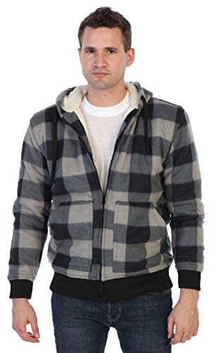 Gioberti Mens Checkered Flannel Hoodie Jacket with Sherpa Lining, Charcoal/Gray, L