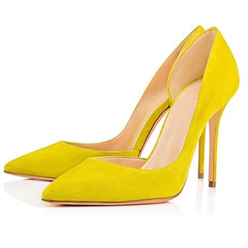Escarpins Classique Mariage Soireelady Bout Chaussures Femme Fermé Jaune Femme Beige Soiree Escarpins q0zx0tS