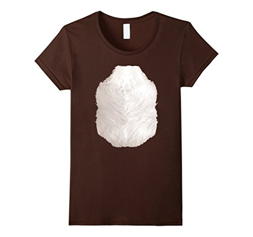 Womens Funny Monkey Belly T-Shirt Halloween Costume Hairy Chest Small (Halloween Costumes For Brown Haired Woman)