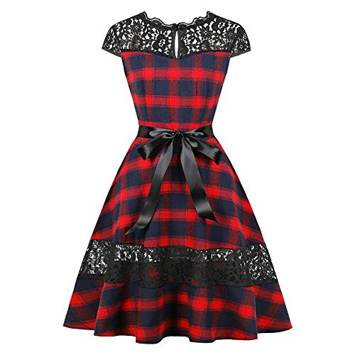 KCatsy Round Collar Cap Sleeve Spliced Lace Plaid Belted A-line Women Dress Red Wine ()