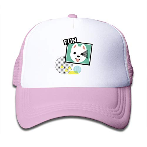 (I Love My White Pomeranian Adjustable Mesh Hats Baseball Trucker Cap for Boys and Girls Pink )