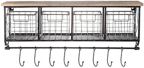 Syl Billionair Black Metal Wood Shelf with Baskets 8 Hooks Shabby Chic Home Wall Decor