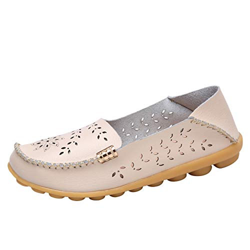 Alicegana Women's Casual Leather Natural Comfortable Driving Fashion Summer Breathable Nurse Walking Flat Loafer Ladies Shoes (8 B(M) US, Beige1) ()