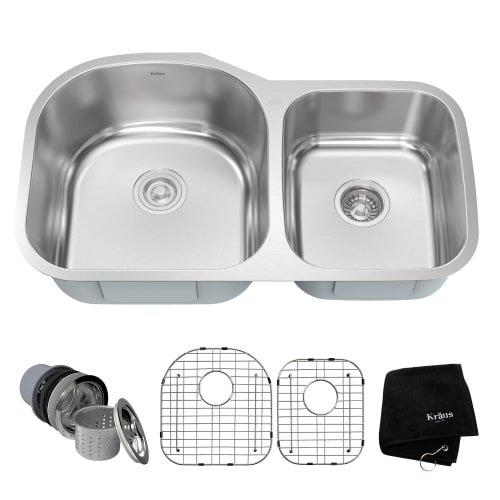 Kraus KBU27 35 inch Undermount 60/40 Double Bowl 16 gauge Stainless Steel Kitchen Sink