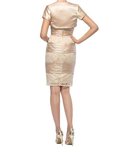 Charmant Rosa Lilac Festlichkleider Jaket Kurzarm Knielang Kurzes Abendkleider Damen Brautmutterkleider mit r5qvnr