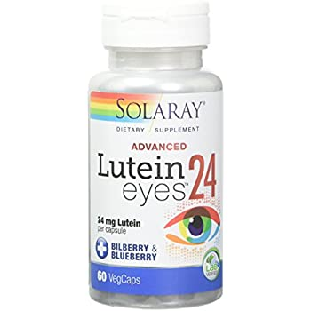 Solaray Lutein Eyes Advanced Supplement, Bilberry&Blueberry, 24 mg, 60 Count