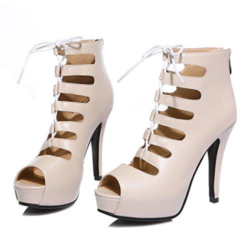 ... YE Damen Offene High Heels Schnür Sandalen Sommer Ankle Boots Cut Out  Pumps Plateau 8cm Absatz 28a7fece26