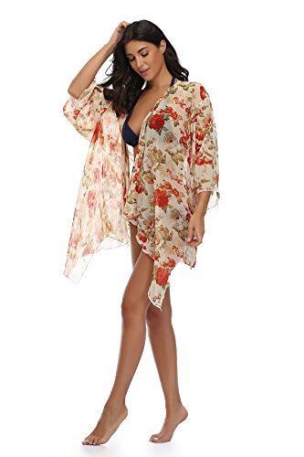 Floating Time Womens Floral Chiffon Kimono Cardigan Summer Beachwear Swimsuit Cover up
