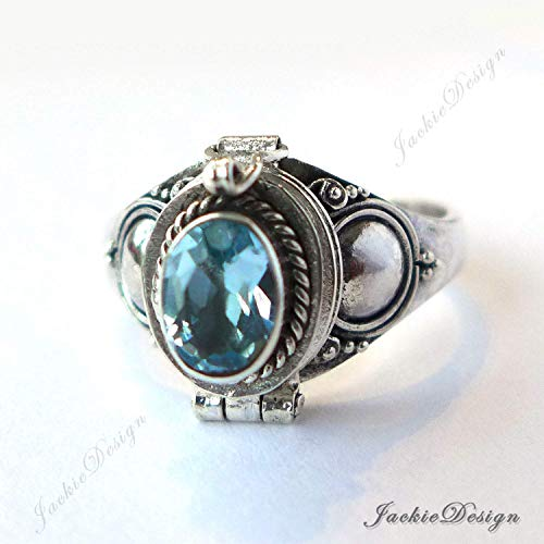 - Blue Topaz Size 7.5 Poison Ring Locket Sterling Silver Secret Compartment JD88O