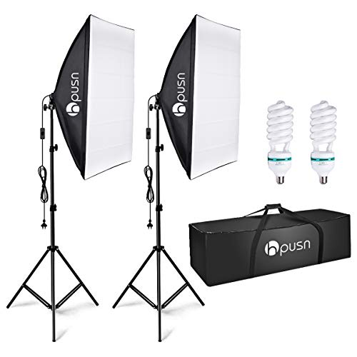 HPUSN Softbox Lighting Kit Professional Studio Photography Continuous Equipment with 85W 5500K E27 Socket Light and 2 Reflectors 50 x 70 cm and 2 Bulbs for Portrait Product Fashion Photography from HPUSN