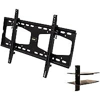 NavePoint Flat Screen TV Wall Mount Bracket Tilt 37-65 Inches with Shelf Black