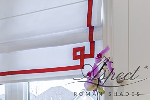 White Greek Drapes - Custom Flat Roman Shade with white and red Greek key border. Premium lining and chain mechanism
