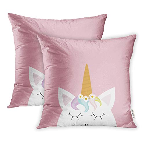 Emvency Set of 2 Throw Pillow Covers Cute Unicorn Head Face Rainbow Hair White Daisy Chamomile Flower Flat Lay Pastel Color Cartoon Kawaii Baby 18x18 Inch Decorative Cute Pillowcase Two Side