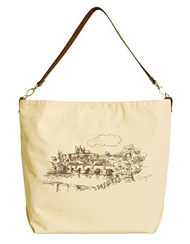 Prague Czech Republic Beige Printed Canvas Tote Bag with Leather Strap WAS_29 (Prague Leather Handbag)