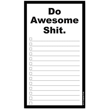 Do Awesome Shit Grocery List Magnetic Groceries Pad 4.25 x 7.5, 50-Sheets